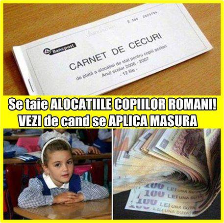 Se taie ALOCATIILE COPIILOR ROMANI! VEZI de cand se APLICA MASURA