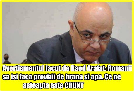 Avertismentul facut de Raed Arafat: Romanii sa isi faca provizii de hrana si apa