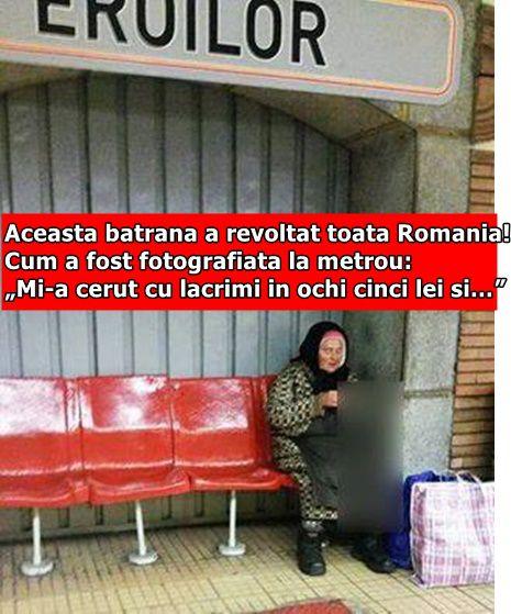 """Aceasta batrana a revoltat toata Romania! Cum a fost fotografiata la metrou: """"Mi-a cerut cu lacrimi in ochi cinci lei si…"""""""
