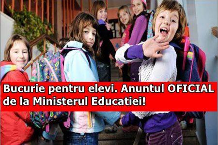 Bucurie pentru elevi. Anuntul OFICIAL de la Ministerul Educatiei!