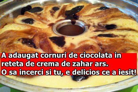 A adaugat cornuri de ciocolata in reteta de crema de zahar ars. O sa incerci si tu, e delicios ce a iesit!