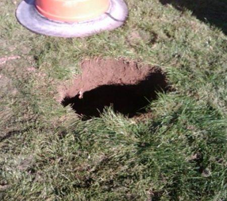 Sapa in gradina si a vazut gaura asta