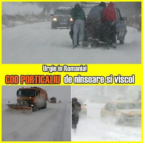 Urgie in Romania! COD PORTICALIU de ninsoare si viscol