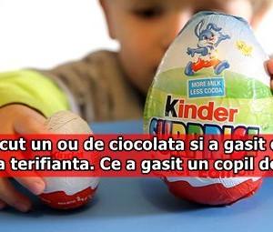A desfacut un ou de ciocolata si a gasit o surpriza terifianta. Ce a gasit un copil de 5 ani!