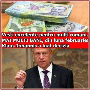 Vesti excelente pentru multi romani. MAI MULTI BANI, din luna februarie! Klaus Iohannis a luat decizia