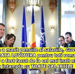 Dupa ce a marit pensiile si salariile, Guvernul da ADEVARATA LOVITURA pentru toti romanii. Anuntul a fost facut de la cel mai inalt nivel. Ce se va intampla cu TOATE SALARIILE