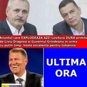 Anuntul care EXPLODEAZA AZI! Lovitura DURA primita de Liviu Dragnea si Guvernul Grindeanu in urma cu putin timp. Veste excelenta pentru Iohannis