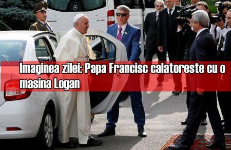 Imaginea zilei: Papa Francisc calatoreste cu o masina Logan