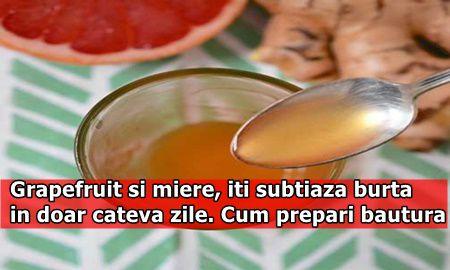 Grapefruit si miere, iti subtiaza burta in doar cateva zile. Cum prepari bautura