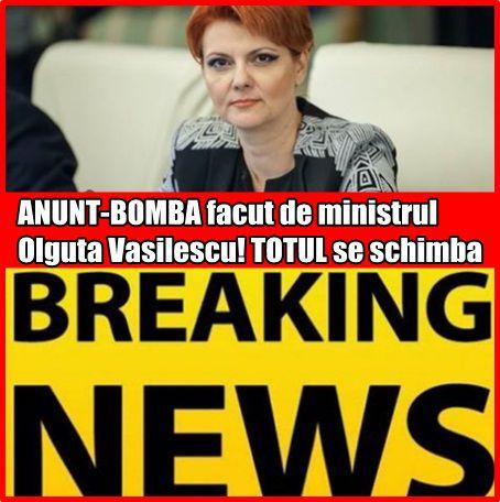 ANUNT-BOMBA facut de ministrul Olguta Vasilescu! TOTUL se schimba