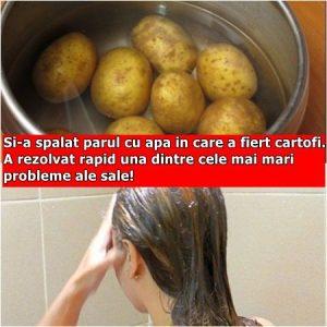 Si-a spalat parul cu apa in care a fiert cartofi. A rezolvat rapid una dintre cele mai mari probleme ale sale!
