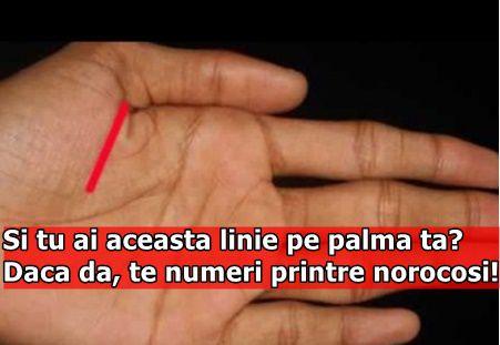 Si tu ai aceasta linie pe palma ta? Daca da, te numeri printre norocosi!