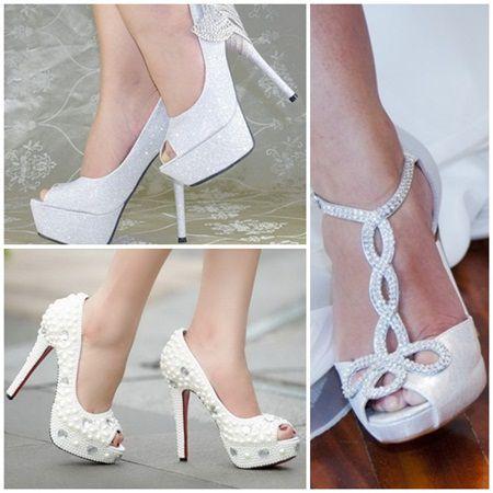Pantofii cu sclipici si aplicatii, noua tendinta pentru mirese