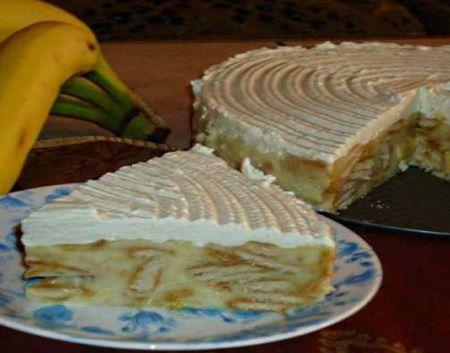 Prajitura rapida si delicioasa cu banane si biscuiti FARA COACERE