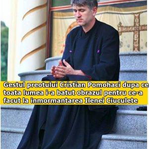 Gestul preotului Cristian Pomohaci dupa ce toata lumea i-a batut obrazul pentru ce-a facut la inmormantarea Ilenei Ciuculete