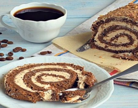 Rulada fara coacere din ciocolata cu biscuiti si cafea. Cel mai usor si delicios desert