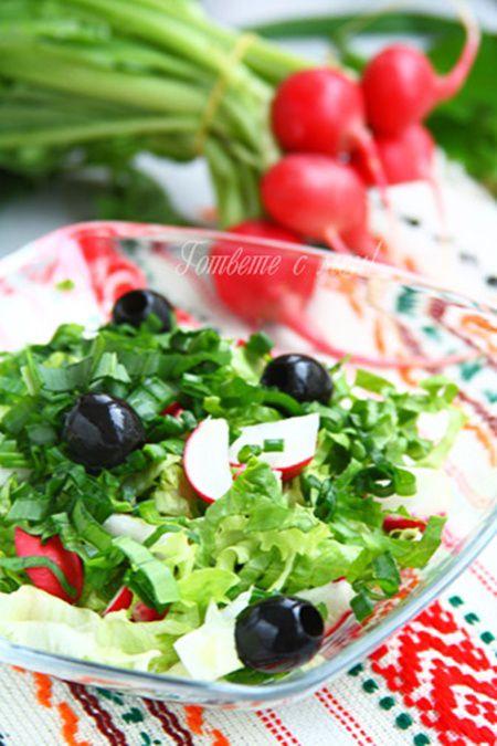 Salata de ridichi, salata verde si leurda