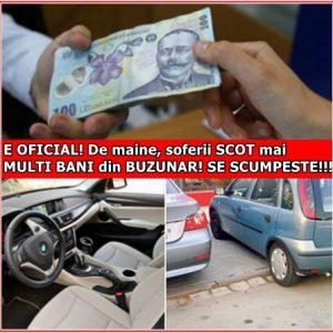 E OFICIAL! De maine, soferii SCOT mai MULTI BANI din BUZUNAR! SE SCUMPESTE!!!
