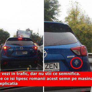 Il vezi in trafic, dar nu stii ce semnifica. De ce isi lipesc romanii acest semn pe masina. Explicatia